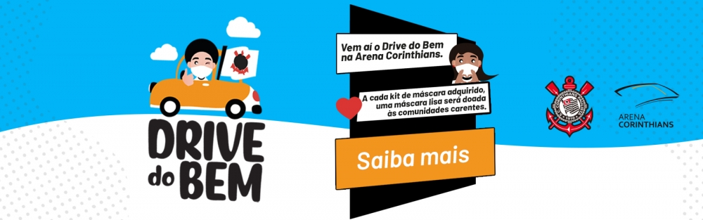 Drive-thru na Arena Corinthians vai arrecadar máscaras para instituições